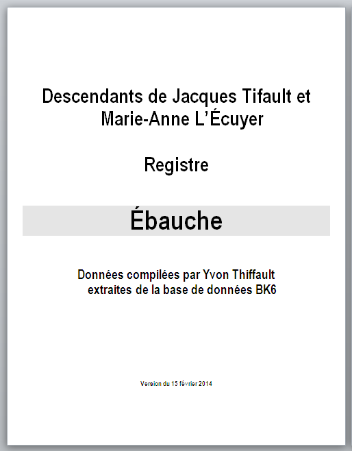 Registre - Page couverture